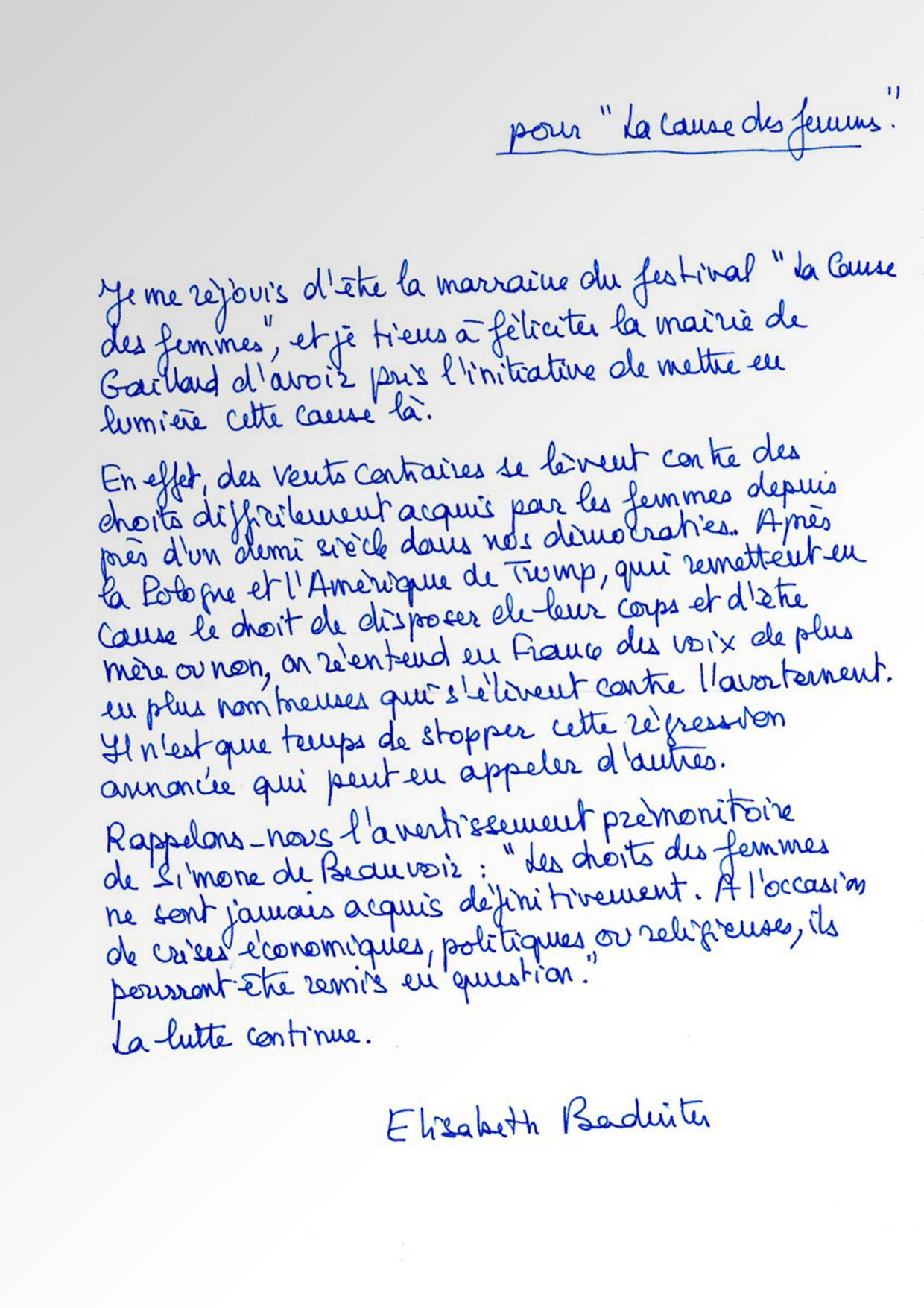 Lettre De Soutien Delisabeth Badinter La Cause Des Femmes